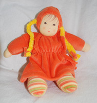 Organic Cotton Doll with Braids _ Orange