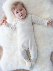Ruskovilla Organic Merino Wool Footed Baby Overalls