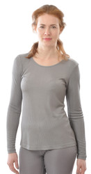 Organic Ribbed Silk Long-Sleeved Shirt for Women