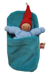 Small Organic Cotton Baby Doll with Sleeping Bag - Light Blue