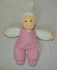 Organic Cotton Striped Waldorf Doll - Pink Striped 11""