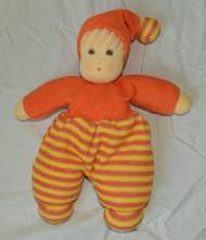 Organic Cotton Striped Waldorf Doll - Orange Striped 10""