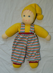 Organic Cotton Waldorf Doll | Boy with Striped Overalls Yellow