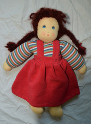 Organic Cotton Waldorf Doll | Girl with Braids Red
