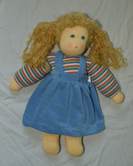 Organic Cotton Waldorf Doll | Girl with Braids Blue