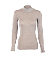 Women's Long Sleeve Shirt Turtleneck | Organic Merino Wool / Cotton