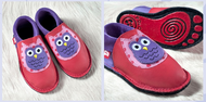 "Handmade Natural Leather Indoor Slippers | ""Eulalia Kinga"" in Lilac-Berry"