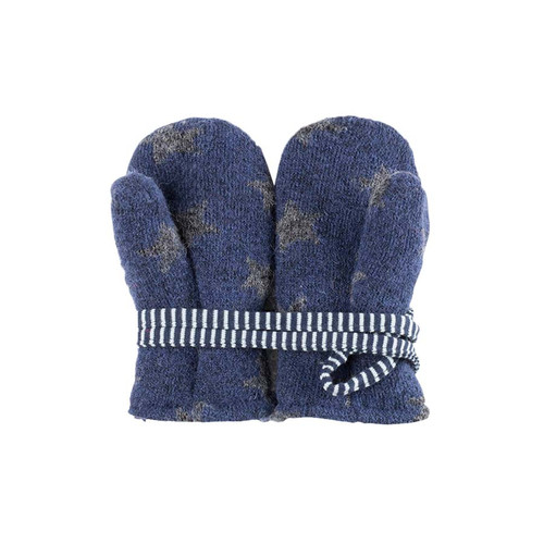 Baby Organic Wool Fleece Cotton Mittens  Color: 3096 navy-grey