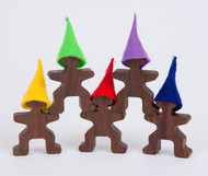 Walnut Wood Figures with Wool Felt Hats