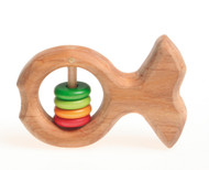 Wooden Fish Rattle with Colored Discs