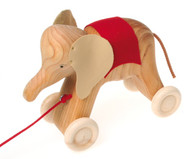 Wooden Elephant Pull Toy, Natural