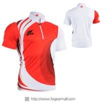 FIXGEAR BM-6202 Casual Mens short sleeve jersey 1/4 zip-up T-shirt