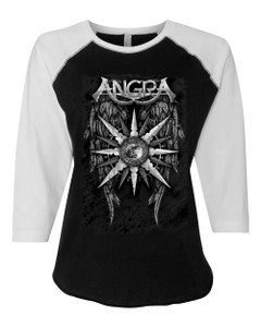 Angra - 3/4 Sleeve B&W Wings Girl Shirt