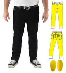 Black Slim Stretch Kevlar® Lined Jeans Includes Level 2 CE Knee Armour. Optional extra: Hip Armour
