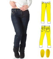 Ladies Blue Kevlar Jeans lined front and back from waist to ankle