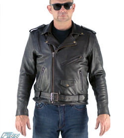 Mens Brando Aniline Leather Motorcycle Jacket