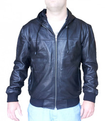 Mens Hooded Leather Sheep Jacket