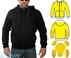 Kevlar Hoodie Motorcycle Jacket - Fully lined with Kevlar on the inside. Extra Kevlar layers in shoulders & elbows