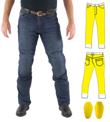 Washed Blue Kevlar® Lined Jeans Includes Knee Armour. Optional extra: Hip Armour