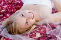 Happy Bride with Rose Petals