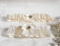 New! Lillian Rose Diamond & Satin Garter Set Ivory