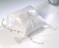 Lillian Rose Ring Bearer Pillow Diamonds Satin White or Ivory