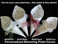 Personalized Blooming Cones holds 3/4 cup petals