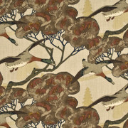 "FD205.K47 Flying Ducks Stone/Brown by Mulberry Fabric - Linen 100% United Kingdom Light H"" 53.978 inches, V: 24.428 inches 53.978 inches  - Fabric Carolina -  Mulberry"