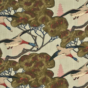 "FD205.H22 Flying Ducks Sky by Mulberry Fabric - Linen 100% United Kingdom Light H"" 53.978 inches, V: 24.428 inches 53.978 inches  - Fabric Carolina -  Mulberry"