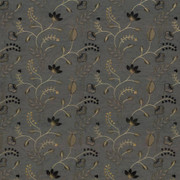 Abberville Steel by Kasmir Fabric 1443 100% Polyester Embroidery Contents 100% Polyester INDIA 30,000 Wyzenbeek Double Rubs H: 13 inches, V:9 4/8 inches 54 - 55 - Fabric Carolina - Kasmir