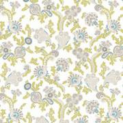 Afton Garden Aqua by Kasmir Fabric 1427 100% Cotton TURKEY Not Tested H: 27 2/8 inches, V:25 2/8 inches 55 - Fabric Carolina - Kasmir