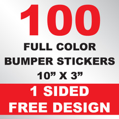 100 Bumper Stickers 10x3