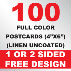 100 Linen Uncoated Postcards 4x6