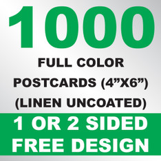 1000 Linen Uncoated Postcards 4x6