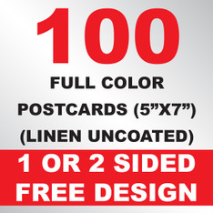 100 Linen Uncoated Postcards 5x7