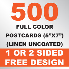 500 Linen Uncoated Postcards 5x7