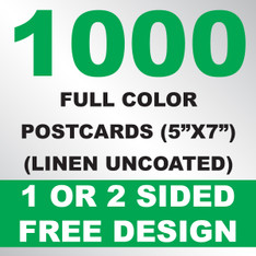 1000 Linen Uncoated Postcards 5x7