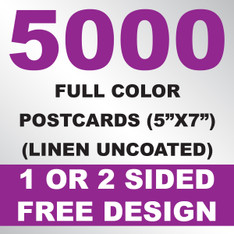 5000 Linen Uncoated Postcards 5x7