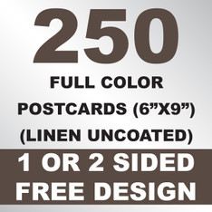 250 Linen Uncoated Postcards 6x9