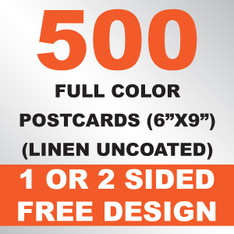 500 Linen Uncoated Postcards 6x9