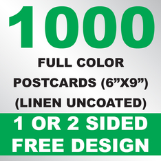 1000 Linen Uncoated Postcards 6x9