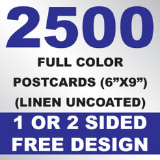 2500 Linen Uncoated Postcards 6x9