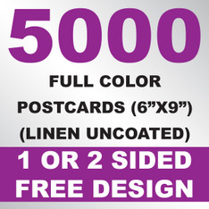 5000 Linen Uncoated Postcards 6x9