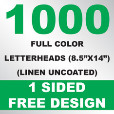 1000 Linen Uncoated Letterheads 8.5x14
