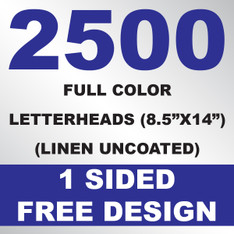 2500 Linen Uncoated Letterheads 8.5x14