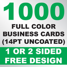 1000 Business Cards (14PT Uncoated)
