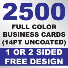 2500 Business Cards (14PT Uncoated)