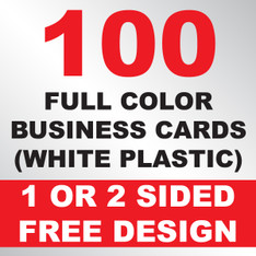 100 Business Cards (White Plastic)