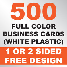 500 Business Cards (White Plastic)