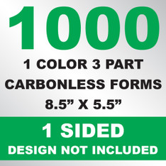 1000 3 Part Carbonless Forms 8.5x5.5